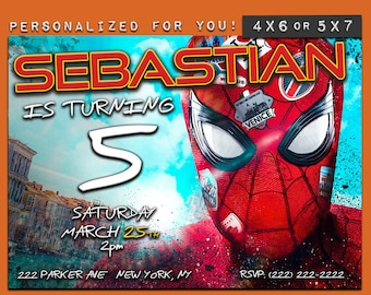 Spiderman invitation, Spiderman Far From Home birthday invitation, personalized printable Spiderman birthday invitation for kids party