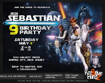 Star Wars Birthday invitation, custom printable retro star wars invitation, personalized printables invitations for kids birthday party