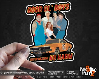 Dukes of Hazzard Inspired Decal Sticker, Minimalist Vinyl Decal Sticker, 1980's TV Show Vinyl Decal Sticker, Printed Decals