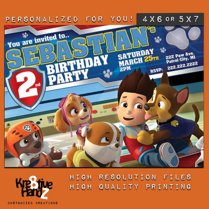 Paw Patrol Invitation Custom Printable Birthday