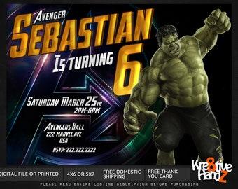 Hulk Invitation, Hulk Birthday Invitation, Incredible Hulk invite, Hulk Infinity war invite, Hulk endgame invitation, Superhero invitation