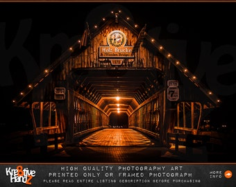 Frankenmuth Covered Bridge Photograph, Michigan Photograph, outdoor Bridge photography, Fine art photography, print only or printed