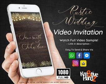 Rustic Wedding Invitation-Wedding video invitation-Video Invitation-personalized theme Video invitation-custom invitations for your party,