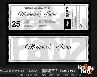 Boarding Pass Wedding invitation, Ticket invitation, personalized wedding invitation, custom invitations for your party, Digital or Printed