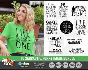 Sarcastic Quotes Image Bundle, Sarcasm Quotes, Vector Files, SVG, DXF, PNG Cut Files, Cricut, Silhouette, Sublimination files