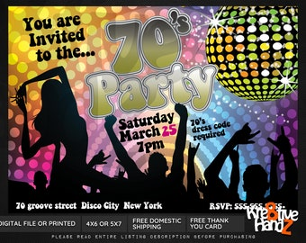 70's party invitation, personalized printable 70's theme party invitation, custom printables invitations 70's disco party