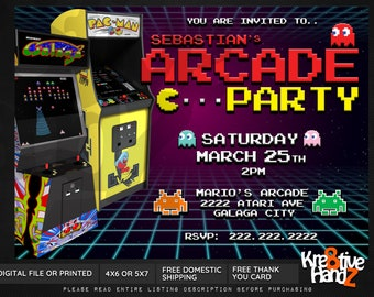 Arcade Party invitation, Video Game Party, personalized Arcade theme party invitation, custom printables invitations for your theme party