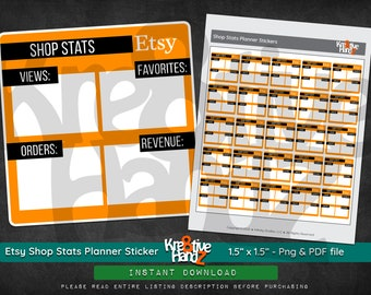 Etsy Shop Stats Planner Stickers,  Etsy Shop Planner, Etsy Shop Tools, PNG file, Printable PDF, Digital Download PDF, Instant downloads.