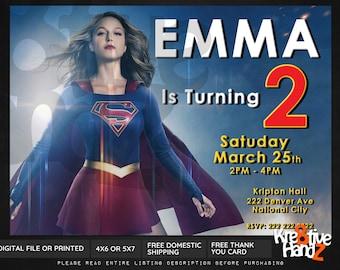 Supergirl invitation, Supergirl birthday invitation, Super girl invitation, Super girl invite, superhero Invitations for kids birthday party