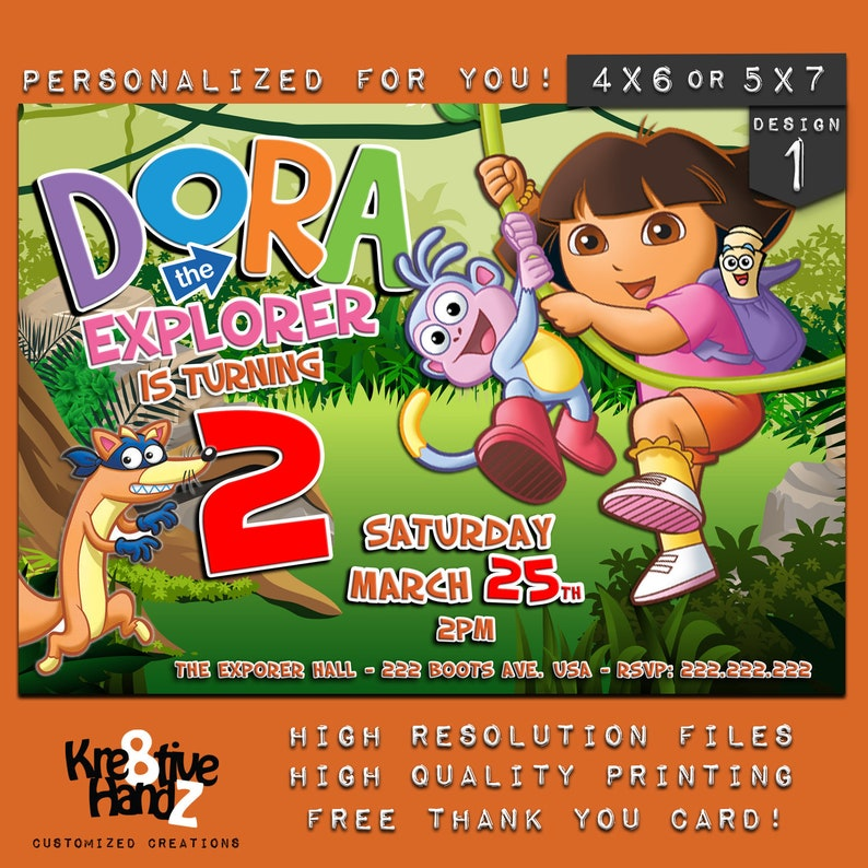Dora The Explorer Invitation Personalized Printable Dora Birthday Invitation Custom Printables Invitations For Kids Birthday Party