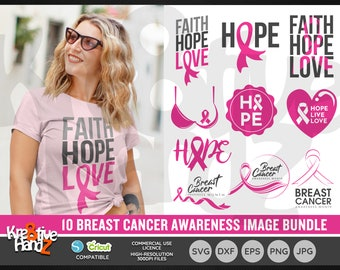 Breast Cancer Awareness Image Bundle, Woman health images, Vector Files, SVG, DXF, PNG Cut Files, Cricut, Silhouette, Sublimination files