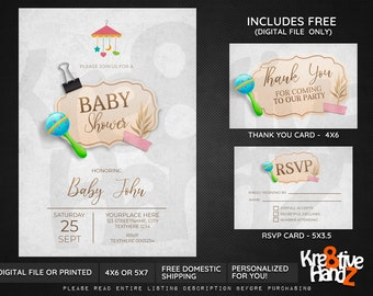 Baby Shower invitation, Baby shower Party, personalized theme party invitation, custom invitations for your party, Digital or Printed