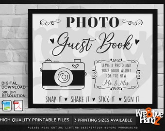 Printable Wedding Photo Guest Book Sign, Leave a photo for the new Mr. & Mrs., Snap It Shake it Stick it Sign it, Digital Download, 3 Sizes