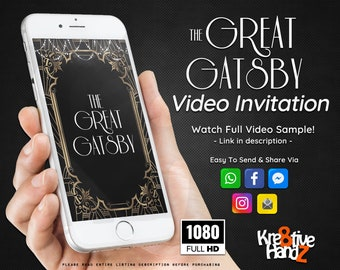 Great Gatsby invitation, Roaring Twenties Party, Video Invitation,  personalized theme Video invitation, custom invitations for your party,
