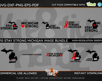 Stay Strong Michigan Image Bundle, Quarantine  SVG,  DXF, PNG Cut Files Images, Cricut files, Silhouette Studio files,  Instant downloads.
