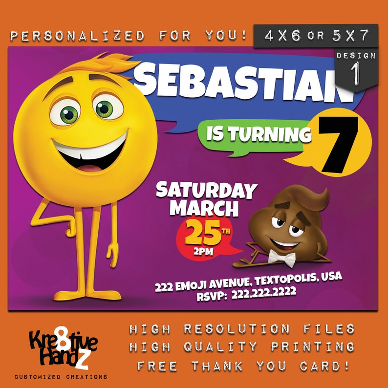 Emoji Movie Invitation Personalized Printable Birthday