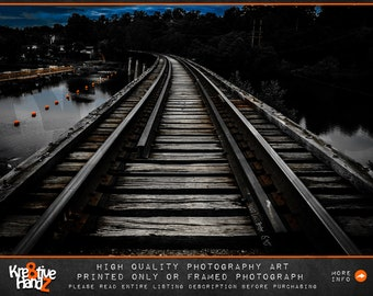 Train Track Photograph, Railroad Train Tracks photography,Train Tracks Canvas Art Print,Ann Arbor Train Tracks,high quality prints or framed