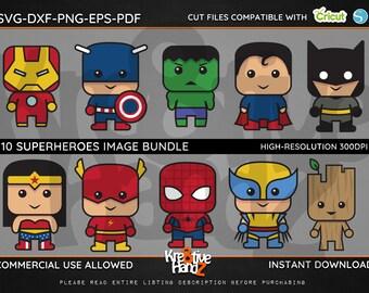Superhero Image Bundle, Superheroes, SVG, DXF, PNG Cut Files Images, Cricut files, Silhouette Studio files, Instant download