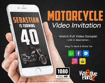 Motorcycle invitation, Biker Party, Harley Davison Video Invitation, personalized theme Video invitation, custom invitations for your party,