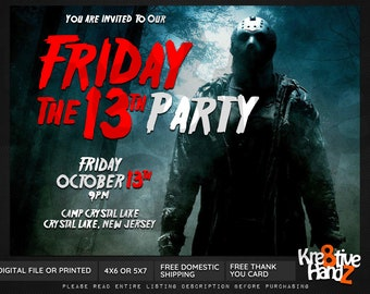 Halloween Invitation, custom printable Friday the 13th Halloween Party invitation, personalized printables invitations for your theme party
