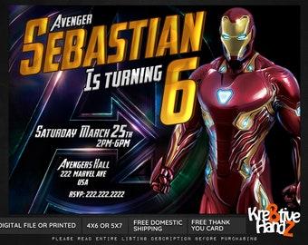 Iron Man Invitation, Iron Man Birthday Invitation, Iron Man Infinity War invite, Iron Man Endgame Invitation, Superhero invitation for kids