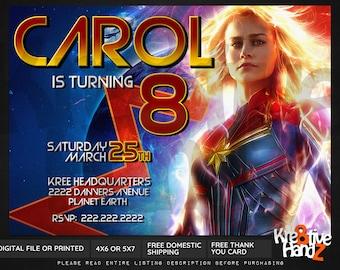 Captain Marvel invitation, personalized printable Captain Marvel birthday party invitation, custom printables invitations for kids birthday