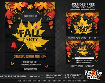 Fall Party invitation, Autumn Party, personalized theme party invitation, custom invitations for your party, Digital or Printed