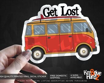 Get Lost Adventure Travel Vinyl Decal Sticker, Travel Vinyl Decal Sticker, Adventure Vinyl Decal Sticker, Printed Decals