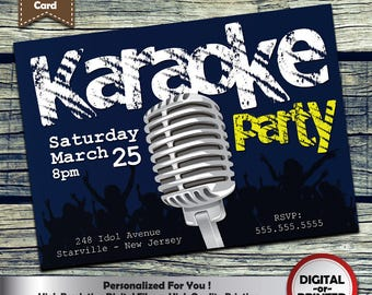Karoke Party Invitation Personalized Printable Invite for your theme party + Free Thank You Card