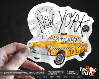 New York City Vinyl Decal Sticker, NY Taxi Cab Vinyl Decal Sticker, Waterproof Vinyl Decal Sticker, Printed Vinyl Decals