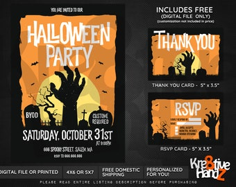 Halloween Party invitation, Halloween Theme Party, personalized party invitation, custom invitations for your party, Digital or Printed