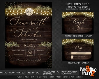 Rustic Wedding invitation, Rustic Theme Party, personalized theme party invitation, custom invitations for your party, Digital or Printed