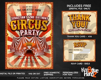 Circus invitation, Vintage Circus Birthday Party, personalized theme party invitation, custom invitations for your party, Digital or Printed