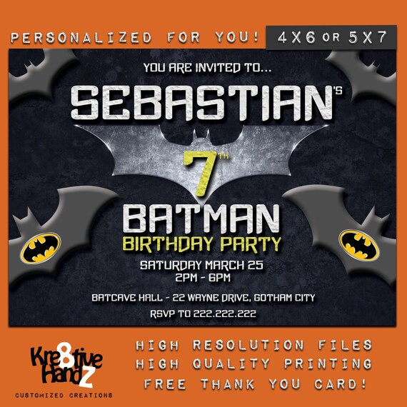 Batman Invitation Personalized Printable Superhero