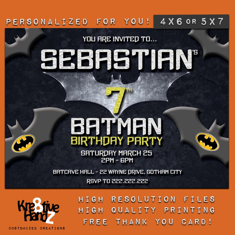 Batman Invitation Personalized Printable Superhero