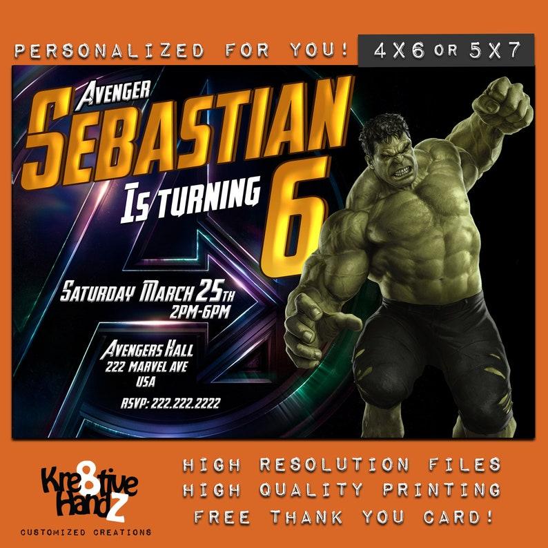 Hulk Invitation Birthday Incredible