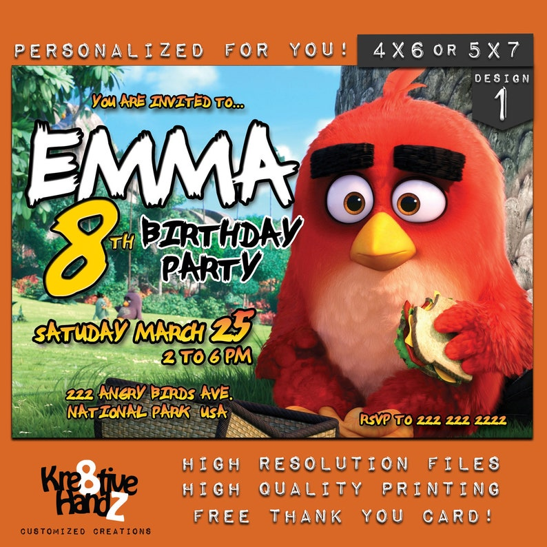 Angry Birds Invitation Angry Birds Birthday Invitation Angry Birds Birthday Party Invite Angry Birds Theme Invite For Kids Party