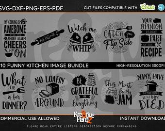 Funny Kitchen Quotes Image Bundle, Cooking SVG,  DXF, PNG Cut Files Images, Cricut files, Silhouette Studio files,  Instant downloads.