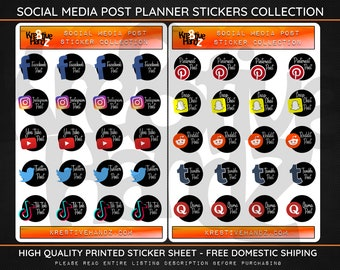Social Media Post Planner Stickers, Daily and Weekly Post Planner Stickers, Happy Planner Stickers, Planner Stickers for Stationary & gifts