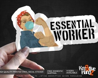 Essential Worker Vinyl Decal Sticker, Essential Workers Vinyl Decal Sticker, Waterproof Vinyl Decal Sticker, Printed Vinyl Decals