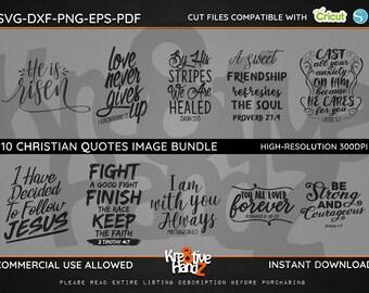 Christian Quotes Image Bundle, Christian Faith Biblical Quotes SVG,  DXF, PNG Cut Files Images, Cricut files, Silhouette Studio files.