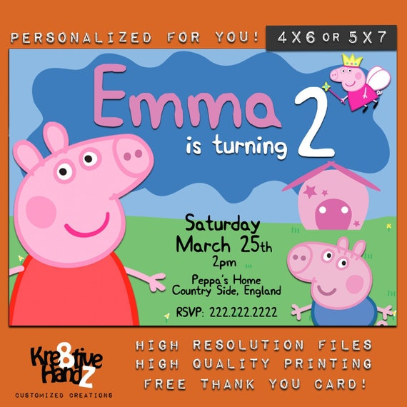 Peppa Pig Invitation Personalized Printable