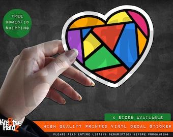 Rainbow Heart Vinyl Decal Sticker, Hope, faith and love Vinyl Decal Sticker, Waterproof Vinyl Decal Sticker, Printed Vinyl Decals