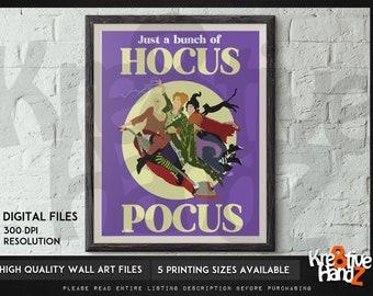 Hocus Pocus inspired Minimalist art Illustration, Sanderson Sisters Minimalist Wall Art Poster,  movie wall art, 80s TV Shows,digital files