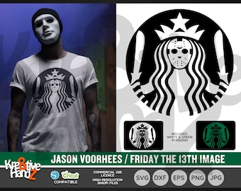 Jason Voorhees Images, Friday the 13th, Star coffee bucks, Vector Files, SVG, DXF, PNG Cut Files, Cricut, Silhouette, Sublimination files