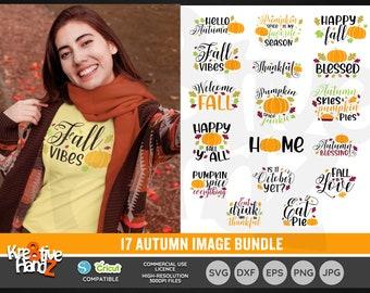 Fall Image Bundle, Autumn, Pumpkin, Vector Files, SVG, DXF, PNG Cut Files, Cricut, Silhouette, Sublimination files, Digital Download