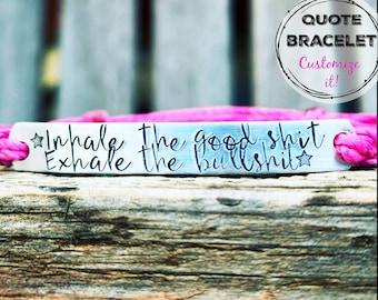 Custom Hand Stamped Bracelet, friendship bracelet, Custom Name Jewelry, Quote Bracelet, Gift Idea, Waxed Polyester cord, running bracelet