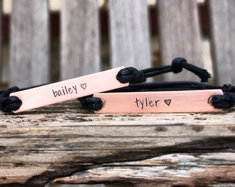 Set of 2-Hand stamped name bracelets, Best friend bracelets, BFF personalized friendship, custom hand stamped bracelet, couples gift