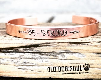 Copper Cuff bracelet, Minimalist cuff,  quote cuff bracelet, hand stamped cuff bracelet, Personalized cuff bracelet