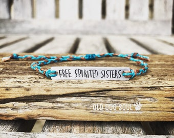 Quote Bracelet Braided Custom Hand Stamped Bracelet, friendship bracelet, Custom Name Jewelry, Gift Idea, Waxed Polyester cord